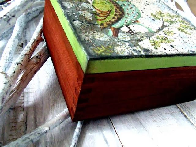 pudełko decoupage pudełko zimowe sówka decoupage box Eco manufaktura