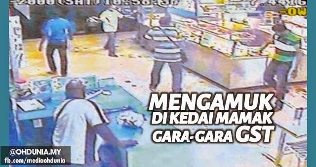 Kerana GST, pelanggan keluarkan parang mengamuk di kedai Mamak
