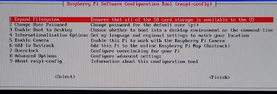 L'écran de configuration propose différentes options.
