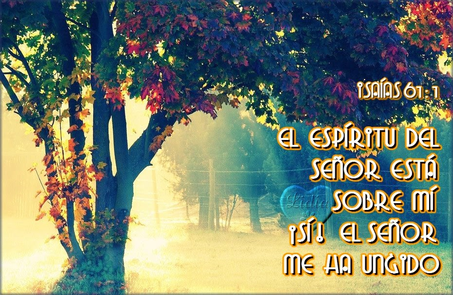 Postal cristiana con versículo de El Espíritu del Señor está sobre mi
