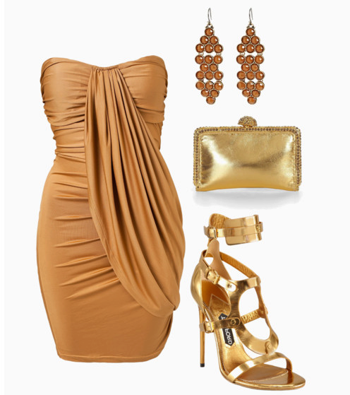 Golden blouse, ear rings, high heel sandals and golden hand bag for ladies