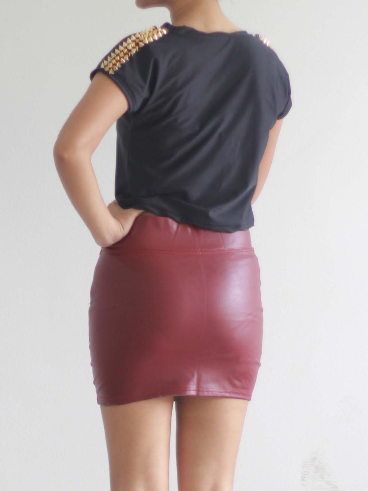 mango orangie leather bodycon skirt