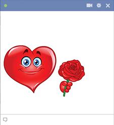 Rose heart emoticon for Facebook