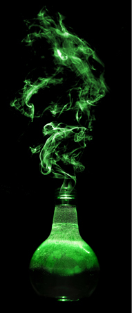 a smoking elixir bottle filled with green potion