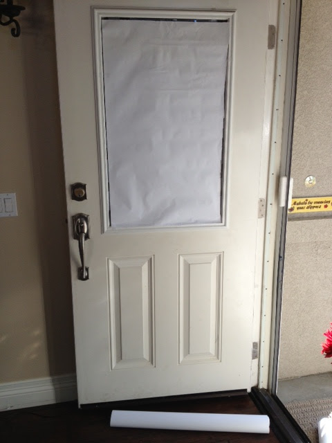 Step 1 I covered my glass door with the kids art paper. & OC Mom Blog: Halloween DIY Decorations: Monster Door