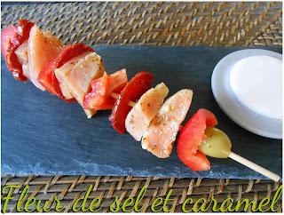 Brochettes de saumon au chorizo et poivron