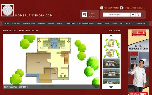Home Plans in India: 2000 Sq.ft. 4 Bedroom Duplex Family House Plan