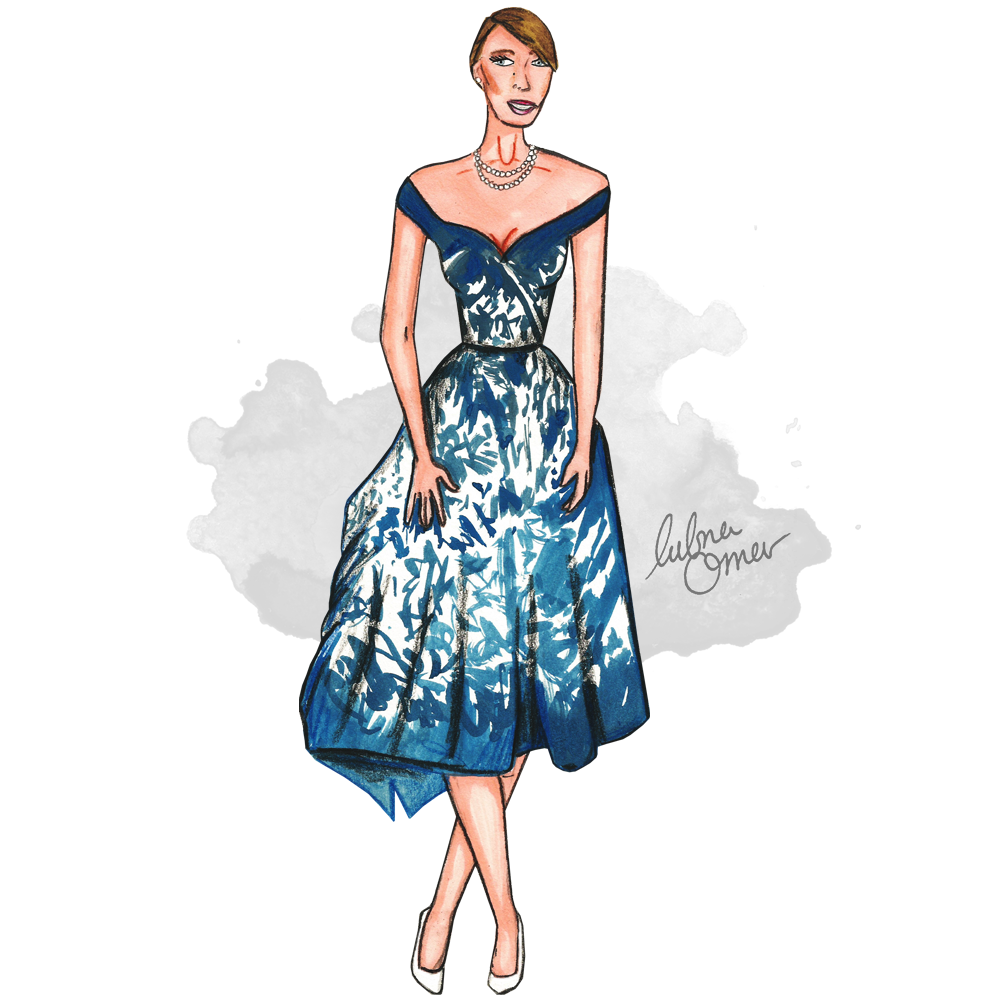 Blake Lively in Zuhair Murad illustration by Lubna Omar