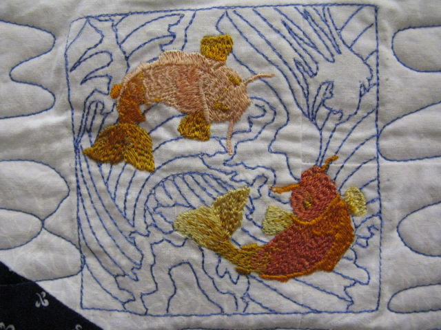 Quilting blog cactus needle quilts fabric and more koi for Koi pond quilt pattern