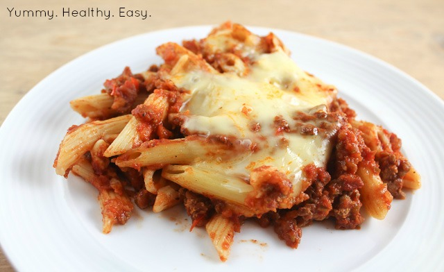 Beef Penne Pasta Bake - Yummy Healthy Easy