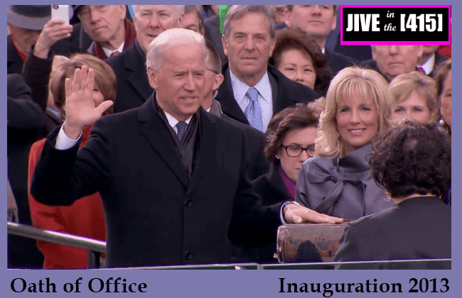 Vice President Biden raises his right hand to take the oath of office Jan 21 2013