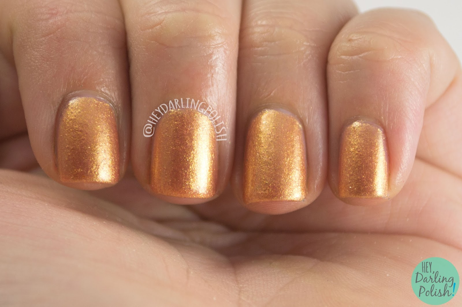 bronze, copper, my 2 cents, nails, nail polish, indie, indie polish, kitty polish, hey darling polish, swatch, shimmer