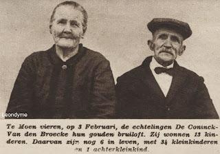 Het echtpaar De Coninck-Van den Broucke uit Moen hadden 13 kinderen.