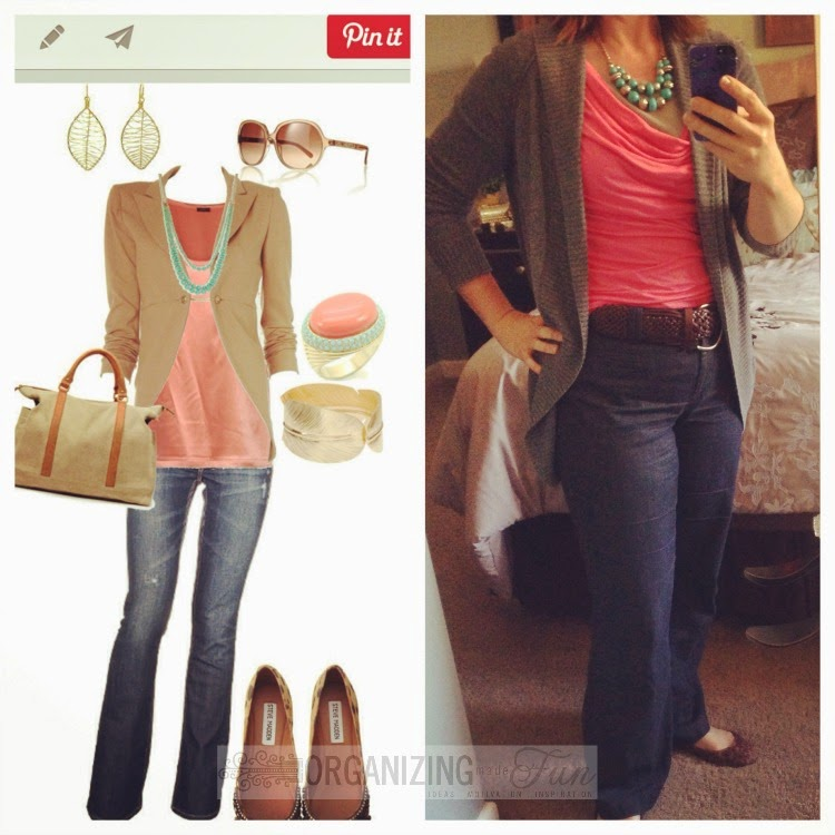 Find outfits from your own closet through Pinterest:: OrganizingMadeFun.com -- coral top, belted jeans, gray sweater