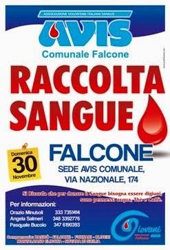 """Domenica 30/11 dalle ore 8.00 alle ore 12.00  FALCONE """"CENTRO FISSO DI RACCOLTA"""" VIA NAZIONALE,174"""