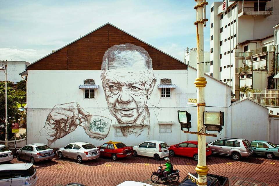 Ernest zacharevic new murals ipoh malaysia for Mural 1 malaysia