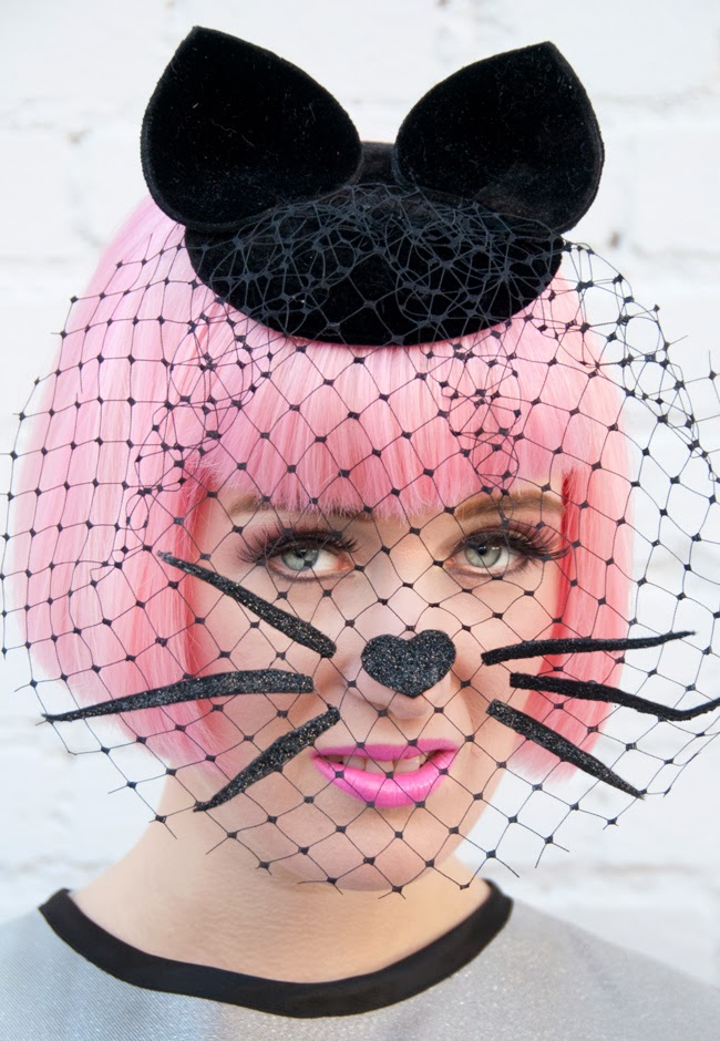 veiled fascinator, veiled hat, cat hat, Pearls & Swine