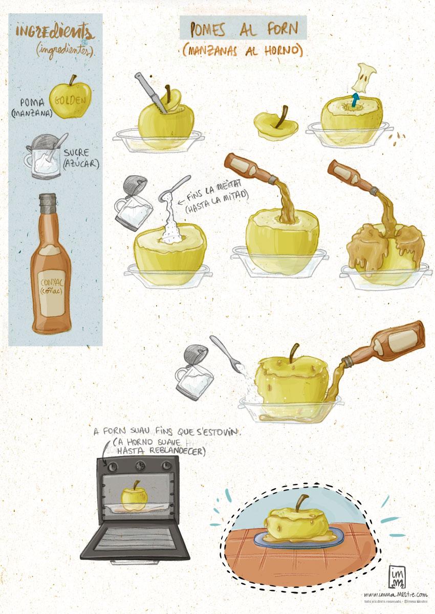 Recepta il·lustrada de poma al forn ©Imma Mestre Cunillera