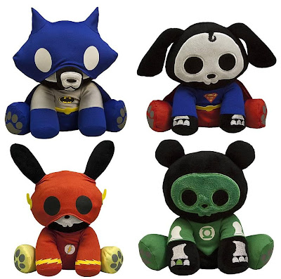 DC Heroes Skelanimals Plush Figures by Toynami - Jae the Fox as Batman, Dax the Dog as Superman, Jack the Rabbit as Flash &amp; ChungKee the Panda as Green Lantern