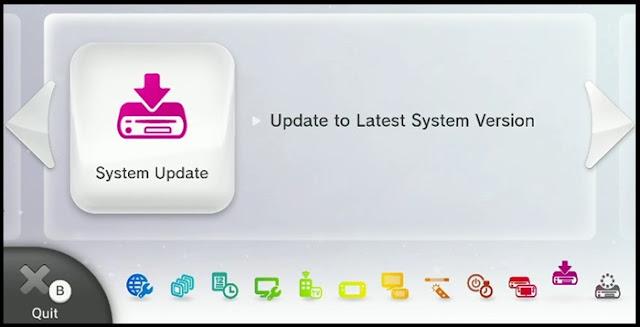 Wii U System Update screen