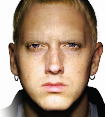 Eminem with no eyebrows www.thebrighterwriter.blogspot.com