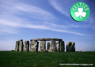 Boston Celtics desktop Wallpapers Celtics Front Logo in classic Stonehenge Stone Monument background