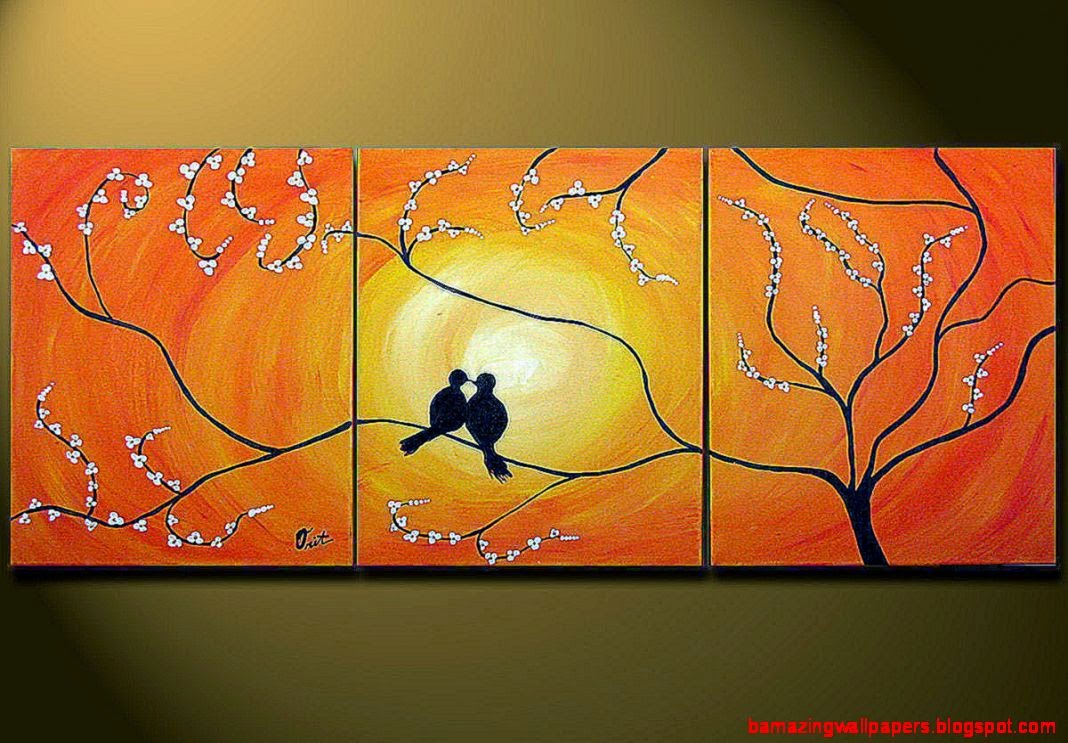 Orange Abstract Painting Love Birds Sitting on Tree by OritArt