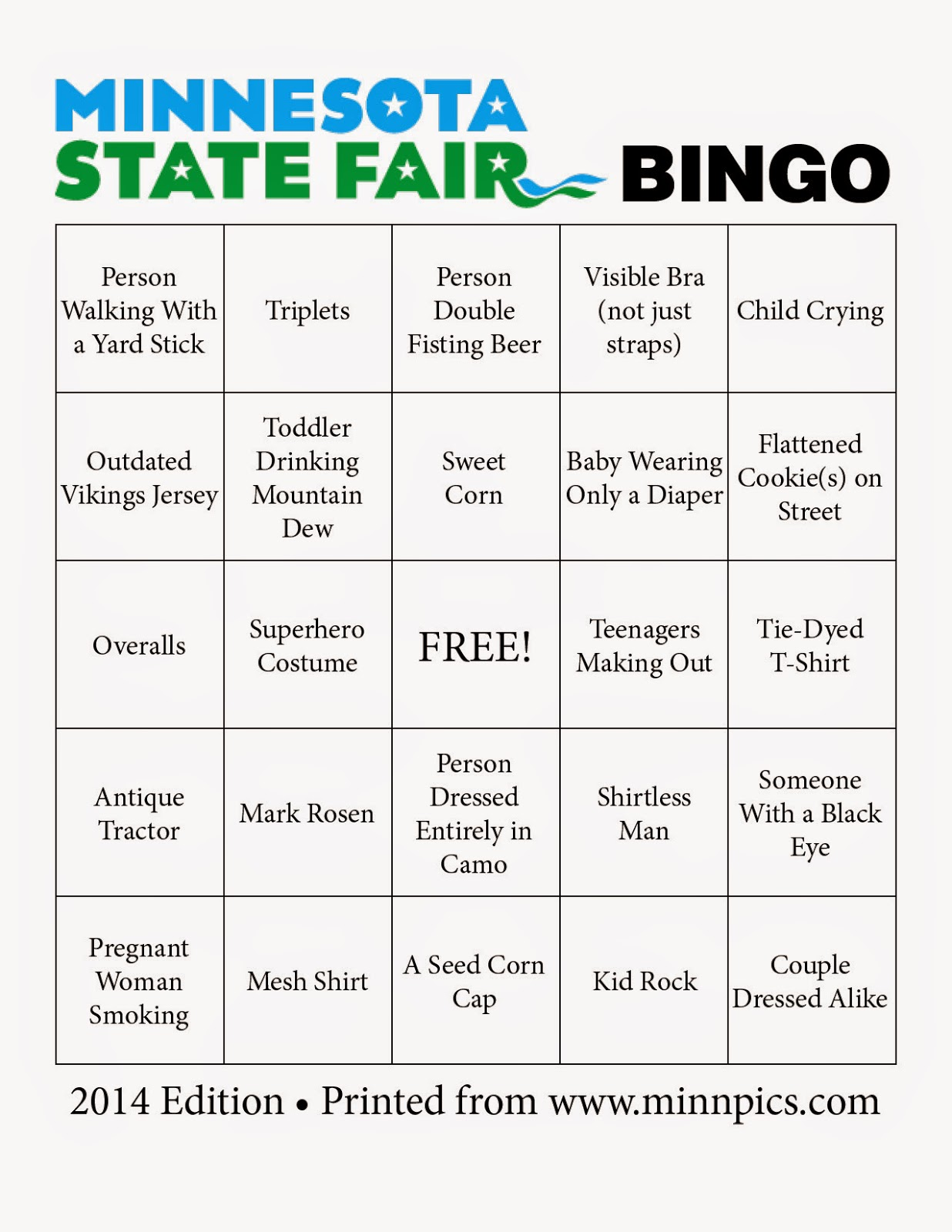 2014 Minnesota State Fair Bingo card