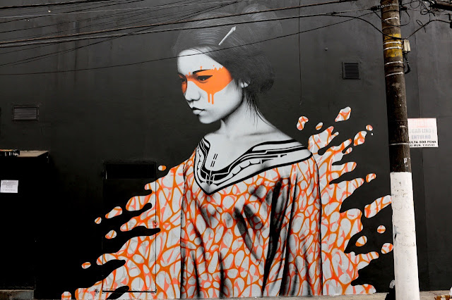 """Splash"" a new sexy street art collaboration by Fin DAC and Angelina Christina in Sao Paulo Brazil. 1"