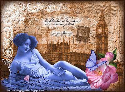 collage vintage digital con foto de dama antigua con Londres al fondo