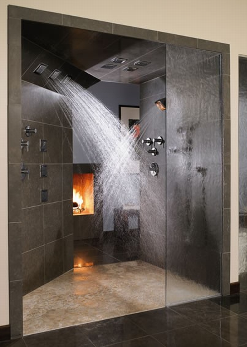 the nicest pictures double shower heads and a fire place