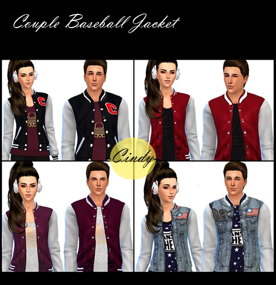 My Sims 4 Blog: Couple Baseball Jackets by CCTS4