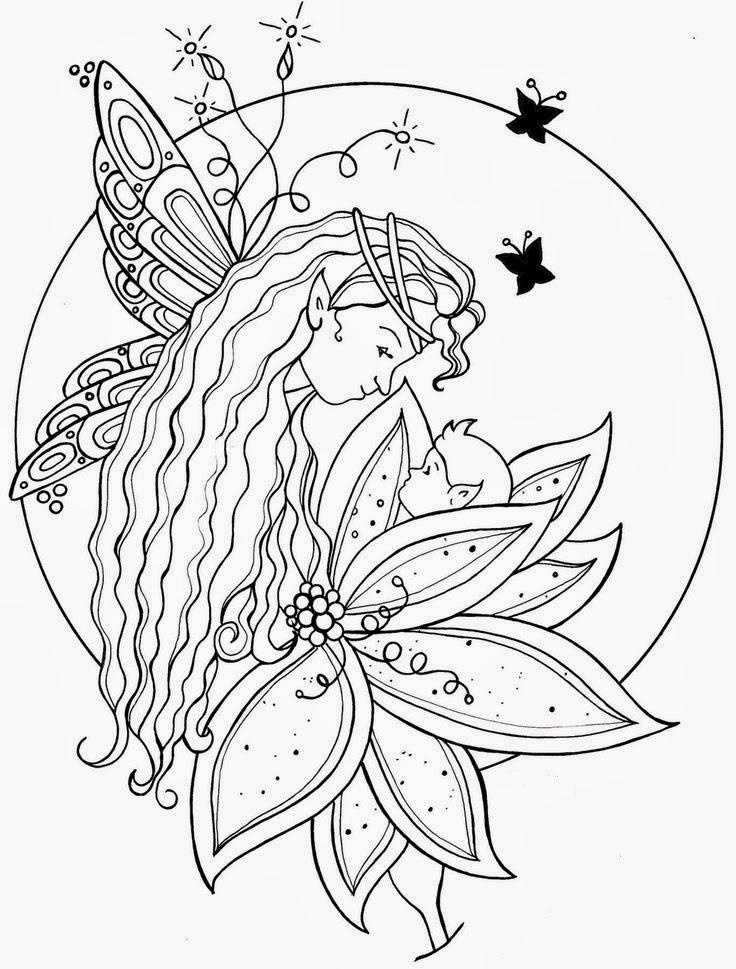 Fairy with baby tattoo stencil