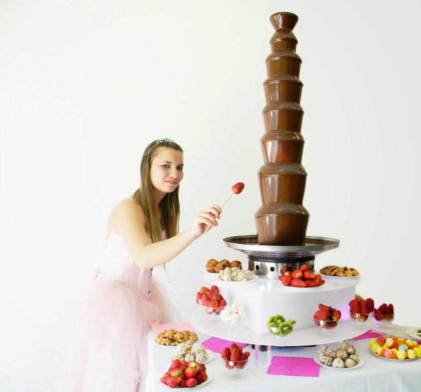 cascada de chocolate royal y base luminosa