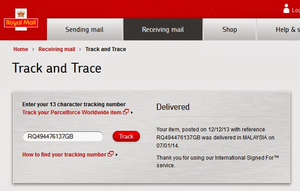 Royal Mail Tracking status