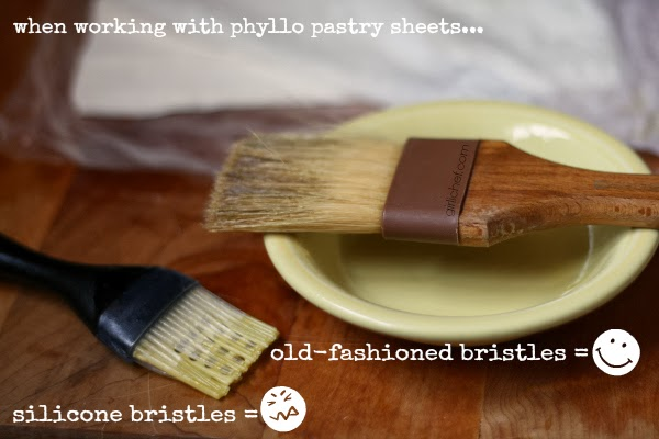 brushing filo dough with melted butter - proper brush to use