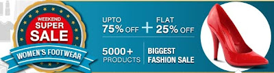 Snapdeal's Weekend Super Sale on Women's Footwear : Enjoy Upto 75% Discount + Extra 25% Discount