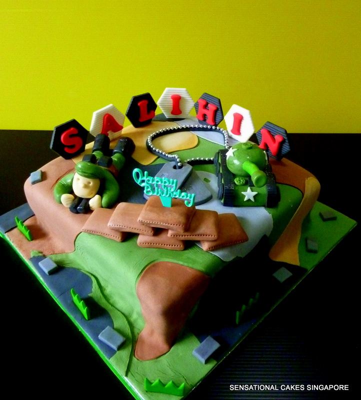 The Sensational Cakes Army Theme cake Singapore Dog Tag Tank