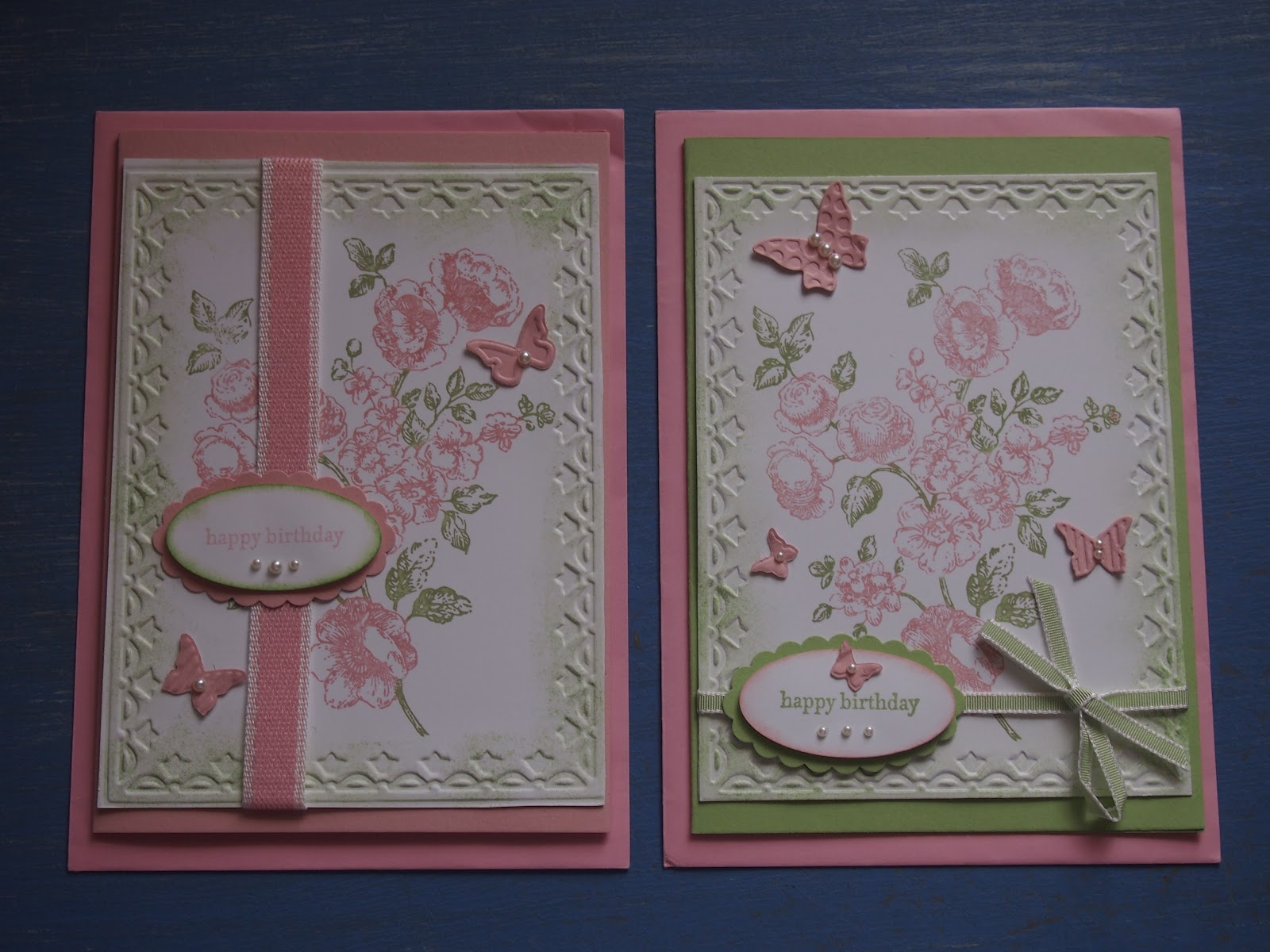 Flushed with rosy colour a pair of pretty handmade birthday cards a pair of pretty handmade birthday cards bookmarktalkfo Images