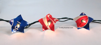 Patriotic Soda Can Lights, shared by Crafty Journal at www.The-Chicken-Chick.com