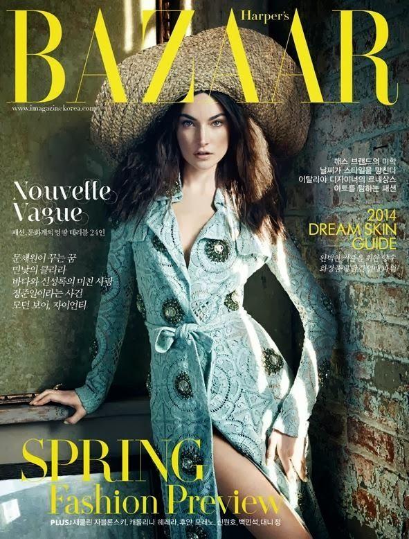 Magazine Cover : Jacquelyn Jablonski Magazine Photoshoot Pics on Harper's Bazaar Magazine Korea February 2014