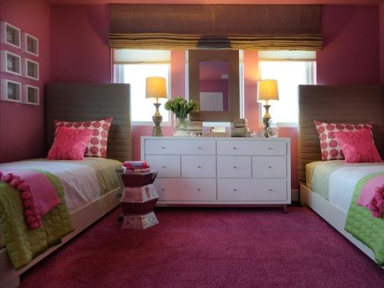 Dormitoriojuvenil en color fucsia con acentos encolor blanco, café y ...