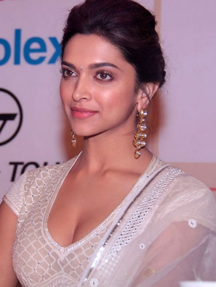 Deepika Padukone Latest Unseen HD Images In White Dress Showing Her Hot Cleavage