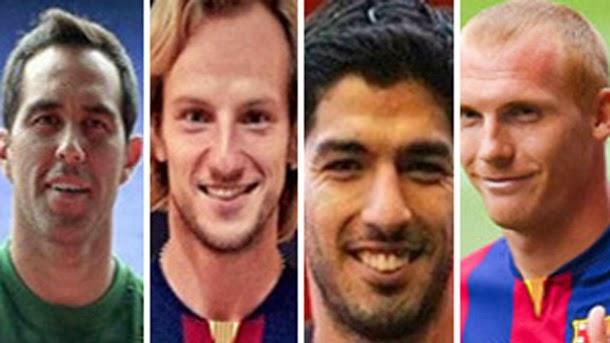 Claudio Bravo, Ivan Rakitic, Luis Suárez y Jeremy Mathieu