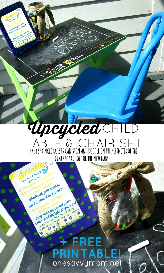 Upcycled Child Table & Chair Set Makeover - Have Guests Sign The Top With Messages For Baby At Your Baby Sprinkle! #LuvsBabySprinkle One Savvy Mom onesavvymom blog nyc