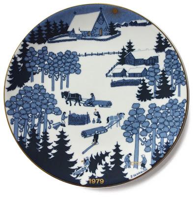 "10"" plate, blue/gold winter scene, 1979 Arabia, scandanavian ceramics"