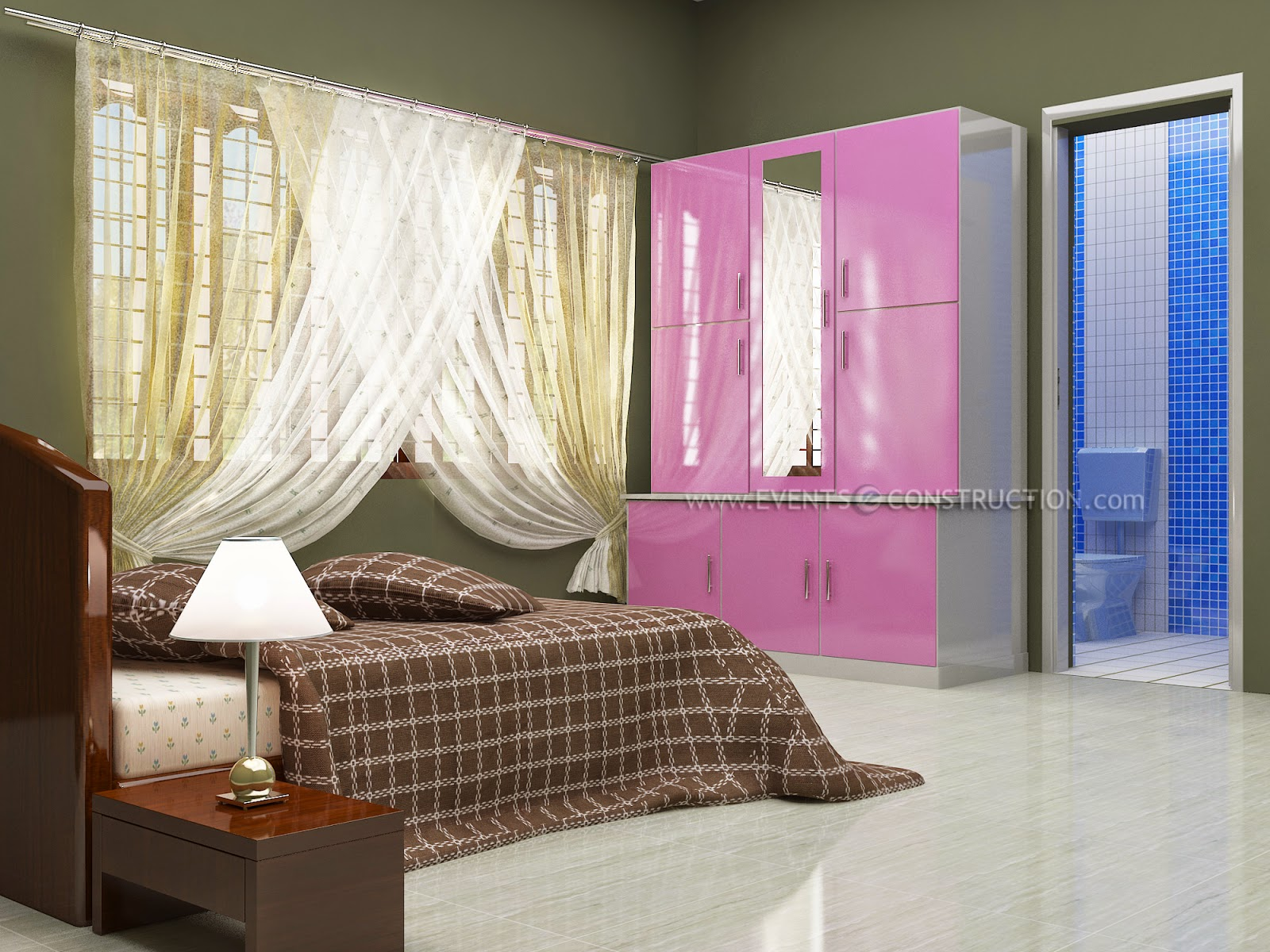 Evens construction pvt ltd kerala simple bedroom interior for Simple bedroom