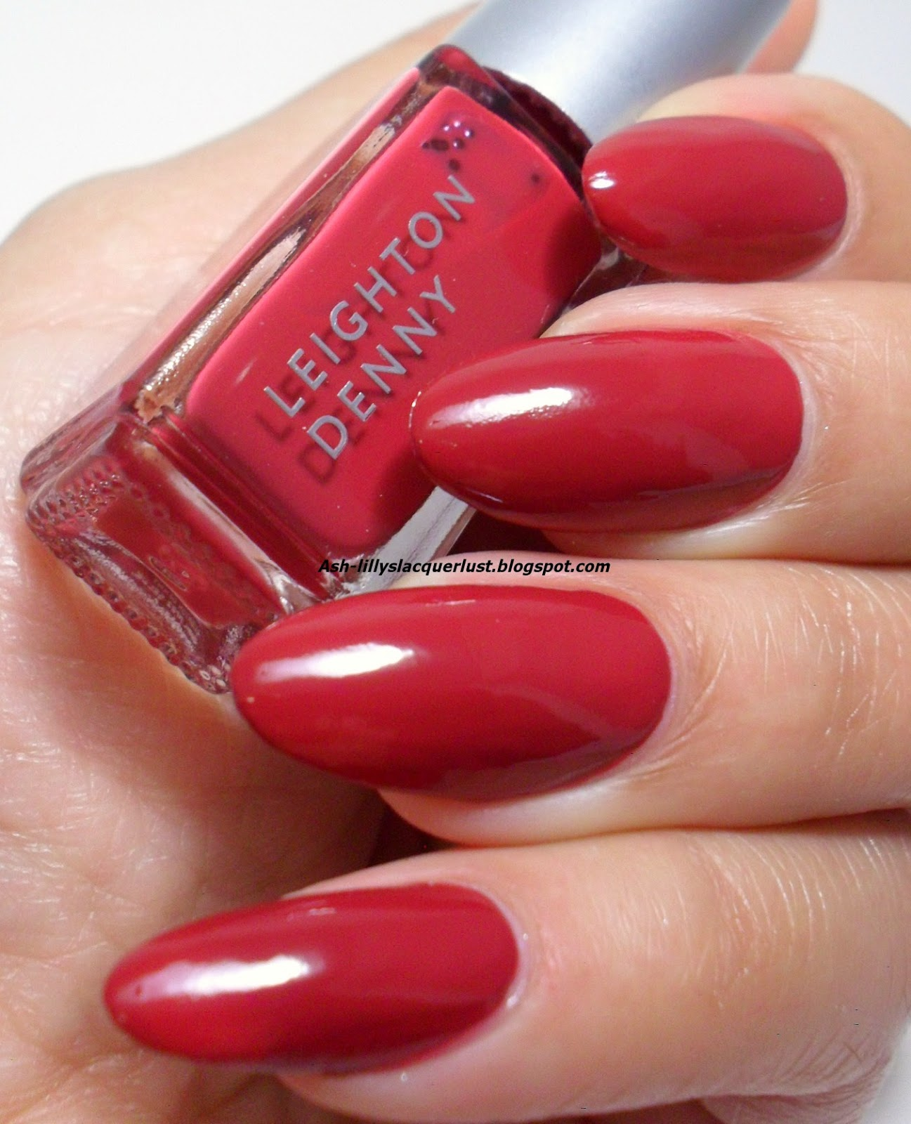 Dark red almond nails