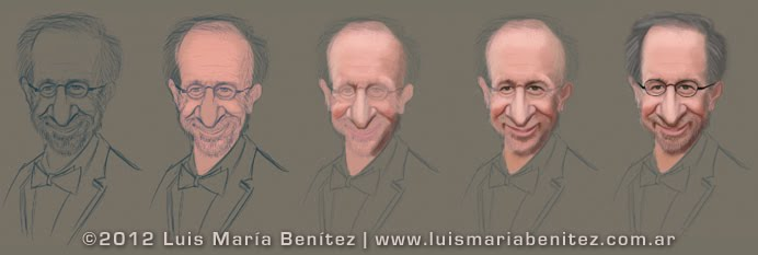 Caricatures: Tom Hanks, Barack Obama and Steven Spielberg / caricaturas digitales © Luis María Benítez