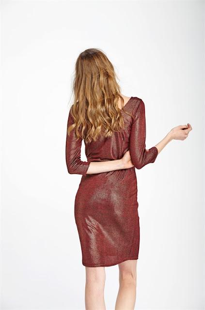 vestido metalizado rojo amichi